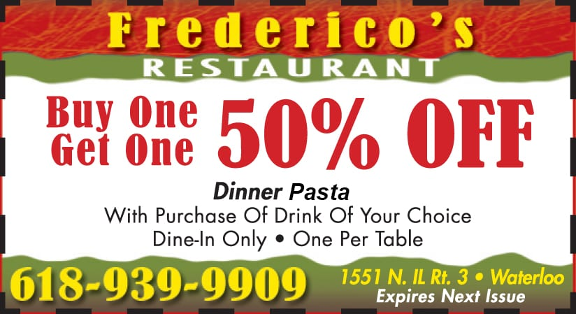 bogo 50% off dinner pasta coupon waterloo il
